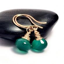 Green Onyx Gold Drop Earrings  Gold Filled  Emerald Green Gemstone Earrings  Earrings UK