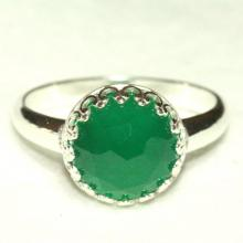Green Onyx Ring, Sterling Silver Crown Ring, Sterling Silver Green Ring, Gemstone Ring