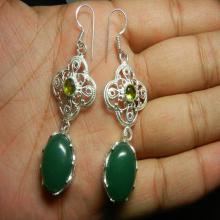 Green Onyx Silver Plated Bezel Set Earrings - Gemstone Earrings