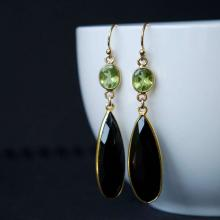 Green Peridot and Black Onyx Gemstone Earrings, 14K Gold Filled Peridot and Black Onyx Bezel Set Earrings