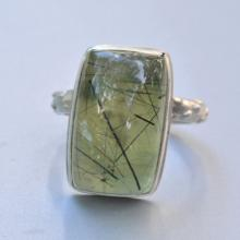 Green Prehnite with Black Rutile Ring in Sterling Silver, Green Stone Ring