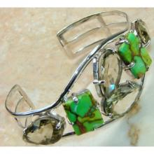 Green Turquoise, Green Amethyst Bangle 925 Sterling Silver