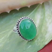 Green onyx Gemstone Ring Bezel Artisan Handmade Gift Ring 925 Silver Ring January Birthstone Ring