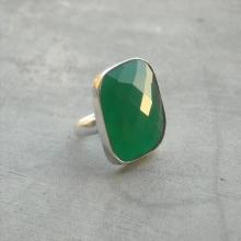 Green onyx ring - Gemstone ring - Faceted ring - Green ring - Square ring - Size 9 & more - Gift for her