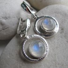 Halo Moonstone Earring- Gemstone Earring- Rainbow Moonstone Earring- Contemporary Earring- Silver Moonstone Earring