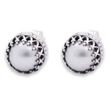 Hand Crafted  Earrings Fine Silver with Pearls