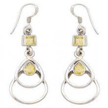 Hand Crafted Citrine and Sterling Silver Dangle Earrings, 'Gold Ice'