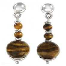 Hand Crafted Sterling Silver Tiger's Eye Dengle Earrings, 'Golden Light'