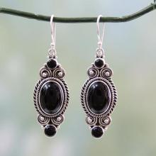 Hand Made Black Onyx and Silver 925 Hook Style Earrings, 'Johari Night'