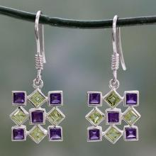 Hand Made Earrings Peridot and Amethyst Sterling Silver , 'Jigsaw Riddle'