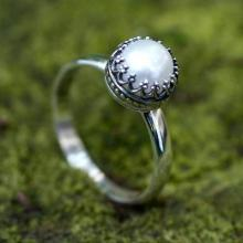 Hand Made Fine Silver Single Stone  Ring