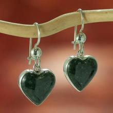 Hand Made Heart Shaped Sterling Silver Dangle Jade Earrings, 'Wild Heart'