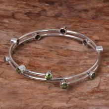 Hand Made Sterling Silver Peridot Bangle Bracelet