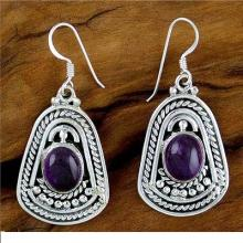 Hand Made Sterling Silver and Amethyst Dangle Earrings, 'Charm of India'