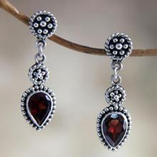 Hand Made Sterling Silver and Garnet Dangle Earrings, 'Balinese Jackfruit'