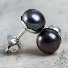 Black Cultured Pearl Stud Earrings