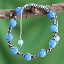 Handcrafted Cotton Beaded Chalcedony Bracelet