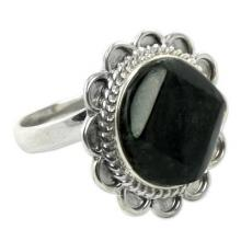 Handcrafted Dark Green Jade and Silver Cocktail Ring, 'Dark Moon Aura'