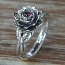 Handcrafted Floral Sterling Silver and Garnet Ring