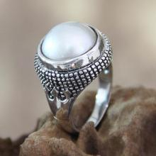 Handcrafted Pearl and Sterling Silver Dome Ring
