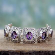 Handcrafted Sterling Silver and Amethyst Bracelet