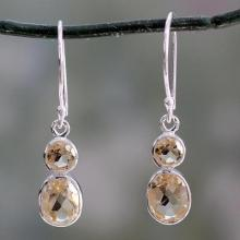 Handcrafted Sterling Silver and Citrine Earrings, 'Lemon Duet'