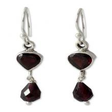 Handcrafted Sterling Silver and Garnet Earrings, 'Fire of Love'