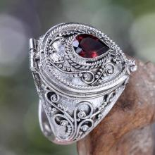 Handcrafted Sterling Silver and Garnet Locket Ring