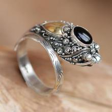 Handcrafted Sterling Silver and Onyx Wrap Ring