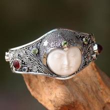 Handmade Cuff Bracelet with Gemstones, Bone, and Silver
