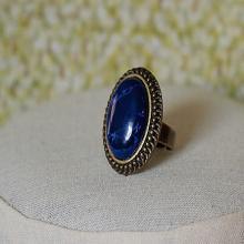 Handmade Lapis Blue Ring Blue Howlite Gemstone Ring Antiqued Gold Ring