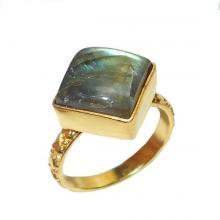 Handmade Ring, Gold Vermeil Ring, Labradorite Ring, Bezel Set Ring, Gemstone Ring, Stacking Ring,