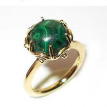 Handmade Ring, Malachite Ring, Gold Vermeil Ring, Gemstone Ring, Semi-Precious Stone Ring, Designer Ring, Womens Ring, Unique Gift Ring