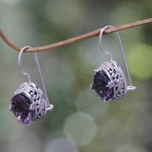 Handmade Sterling Silver Amethyst Drop Earrings, 'Angel'