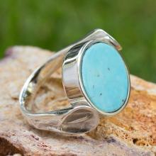 Handmade Sterling Silver Turquoise and Obsidian Ring