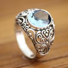 Handmade Sterling Silver and Blue Topaz Cocktail Ring