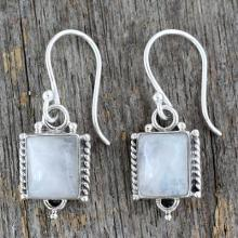 Handmade Sterling Silver and Moonstone Earrings, 'Mystic Sky