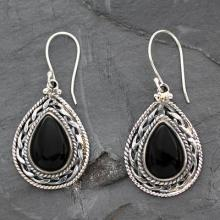 Handmade Sterling Silver and Onyx Indian Earrings, 'Palace Memories'