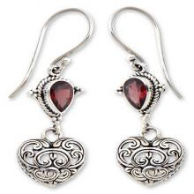 Heart Shaped Sterling Silver and Garnet Earrings, 'Love's Compassion'