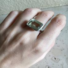 Holiday Sale Green Amethyst Ring- Amethyst Ring- Green Gemstone Ring- Rectangle Ring- February Birthstone Ring- Sleek Ring- Modern Ring