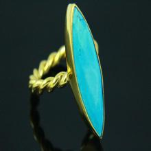 Howlite Turquoise Ring, Twisted Ring Turquoise Ring, Gemstone Ring, Gold Plated, Gold Ring, Gemstone Jewelry