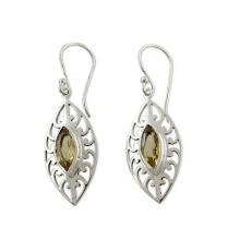 India Artisan Crafted Citrine Earrings, 'Golden Medallion'