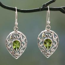 India Jewelry Earrings in Sterling Silver and Peridot , 'Lime Lace'