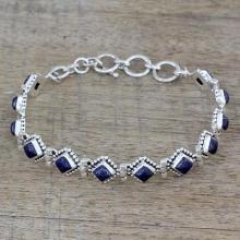 Lapis Lazuli and Sterling Silver Tennis Bracelet