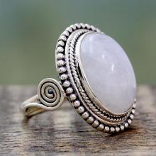 India Sterling SilverRing with Rainbow Moonstone