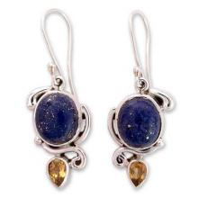 Indian Earrings with Lapis Citrine and Sterling Silver, 'Royal Charm'