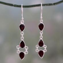 Indian Fair Trade Garnet and Sterling Silver Earrings, 'Mystic Wonder'