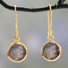 Indian Gold Vermeil Hook Earrings with Labradorite, 'Elite Discretion'