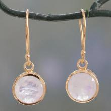 Indian Gold Vermeil Hook Earrings with Rainbow Moonstone, 'Elite Discretion'