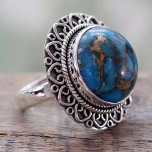 Indian Sterling Silver Ring with Blue Composite Turquoise, 'Golden Blue Mirage'